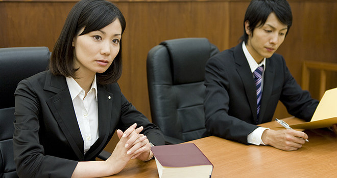 lawyer with serious look